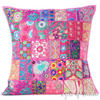 Pink Patchwork Bohemian Colorful Throw Pillow Boho Couch Sofa Cushion Cover - 24""