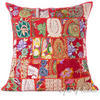 """Red Decorative Patchwork Bohemian Sofa Couch Cushion Boho Pillow Cover Throw - 24"""""""