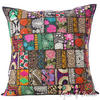 Black Colorful Decorative Patchwork Sofa Throw Couch Pillow Floor Cushion Bohemian Boho Cover - 28""