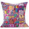 Purple Colorful Decorative Patchwork Sofa Floor Cushion Throw Bohemian Boho Couch Pillow Cover - 28""
