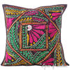 Black Rajkoti Patchwork Decorative Bohemian Pillow Cushion Throw Cover - 16""