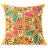 Yellow Rajkoti Bohemian Patchwork Sofa Colorful Throw Pillow Boho Couch Cushion Cover - 16""