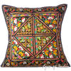 Large Black Colorful Decorative Sofa Throw Pillow Couch Cushion Cover Indian Colorful Decorative - 24""