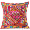 """Burgundy Red Patchwork Decorative Bohemian Couch Throw Pillow Boho Cushion Cover - 24"""""""
