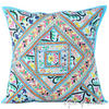 Blue Patchwork Colorful Throw Couch Pillow Cushion Boho Sofa Bohemian Cover - 24""