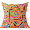 Orange Colorful Patchwork Throw Couch Pillow Sofa Bohemian Boho Cushion Cover - 24""