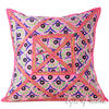 Pink Colorful Decorative Cushion Throw Bohemian Boho Patchwork Sofa Couch Pillow Cover - 24""
