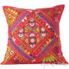 Red Embroidered Patchwork Colorful Decorative Couch Pillow Cushion Bohemian Boho Sofa Throw Cover - 24""