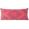 """Pink Embroidered Swati Bolster Long Lumbar Colorful Decorative Sofa Couch Pillow Cushion Cover - 14 X 32"""" 1"""