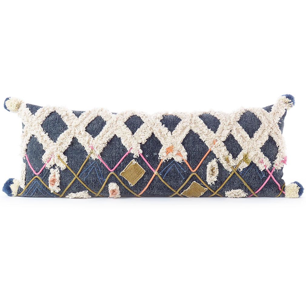"Decorative Indigo Blue Boho Embroidered Fringe Tassel Pillow Cotton Cushion Cover Case Couch Sofa Throw - 12 X 32"" 1"