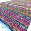 "Blue Decorative Colorful Boho Chindi Woven Area Rag Rug - 5 X 8"" 1"