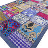 """Blue Embroidered Patchwork Boho Wall Hanging Bohemian Tapestry - 20 X 40"""""""