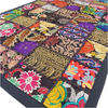 """Black Patchwork Embroidered Tapestry Bohemian Boho Wall Hanging - 20 X 60"""""""