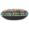 """Black Boho Embroidered Round Bohemian Colorful Floor Seating Meditation Pillow Cushion Throw Cover - 24"""" 3"""