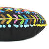 """Black Boho Embroidered Round Bohemian Colorful Floor Seating Meditation Pillow Cushion Throw Cover - 24"""" 7"""