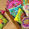 """Pink Embroidered Round Decorative Seating Boho Colorful Floor Pillow Meditation Cushion Cover - 24"""" 5"""