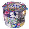 """Small Blue Boho Patchwork Round Pouf Pouffe Bohemian Ottoman Cover - 17 X 12"""""""
