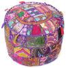 """Small Purple Patchwork Round Pouf Pouffe Boho Bohemian Ottoman Cover - 17 X 12"""""""