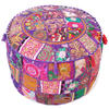 """Purple Patchwork Round Ottoman Pouf Pouffe Boho Cover Floor Seating - 22 X 12"""""""