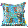 """Light Blue Colorful Decorative Sofa Throw Pillow Bohemian Couch Cushion Cover with Shells - 24"""""""