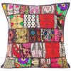 """Black Patchwork Colorful Decorative Sofa Throw Pillow Boho Bohemian Couch Cushion Cover - 20"""""""