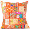 Orange Patchwork Embroidered Bohemian Sofa Colorful Throw Pillow Couch Cushion Cover - 20""