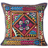 Black Rajkoti Patchwork Colorful Decorative Bohemian Couch Pillow Cushion Sofa Throw Cover - 16""