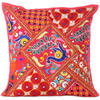 Red Rajkoti Patchwork Colorful Throw Pillow Boho Bohemian Couch Sofa Cushion Cover - 16""