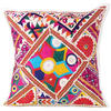 White Rajkoti Patchwork Colorful Decorative Sofa Throw Couch Pillow Bohemian Boho Cushion Cover - 16""