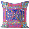 Large Blue Throw Pillow Couch Sofa Cushion Cover Indian Boho Bohemian Colorful Decorative - 24""