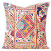 White Patchwork Colorful Decorative Couch Sofa Throw Pillow Cushion Cover Bohemian Indian Decor - 24""