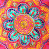 "Pink Orange Blue Embroidered Colorful Throw Pillow Bohemian Couch Sofa Cushion Cover - 16"" 2"