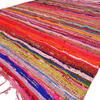 Burgundy Red Bohemian Boho Colorful Chindi Woven Area Rag Rug - 3 X 5 ft