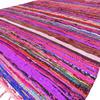Burgundy Red Boho Bohemian Decorative Colorful Woven Chindi Rag Rug - 4 X 6 ft