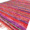 Orange Colorful Decorative Chindi Boho Bohemian Woven Rug Rag - 4 X 6 ft