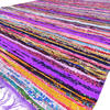 Purple Decorative Chindi Boho Bohemian Colorful Woven Rug Rag - 4 X 6 ft