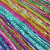 "Blue Decorative Colorful Boho Chindi Woven Area Rag Rug - 5 X 8"" 4"