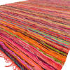 Orange Decorative Colorful Chindi Boho Woven Bohemian Area Rag Rug - 5 X 8""