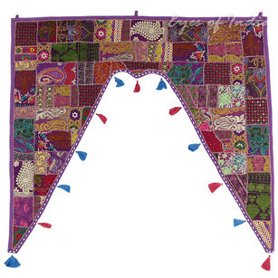 Purple Patchwork Bohemian Window Door Valance Boho Toran Wall Hanging - 42 X 46""