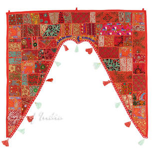 Red Patchwork Boho Window Door Valance Toran Bohemian Wall Hanging - 42 X 46""