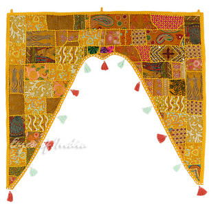 Yellow Patchwork Bohemian Boho Window Door Valance Toran Wall Hanging - 42 X 46""