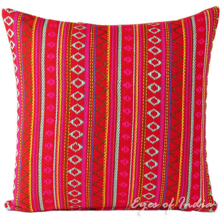 Red Dhurrie Colorful Decorative Bohemian Boho Indian Sofa