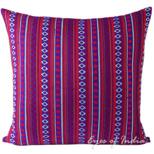 Purple Red Dhurrie Moroccan Kilim Bohemian Decorative Throw Pillow Cushion Cover - 16, 24""