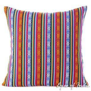 Red Blue Striped Boho Kilim Dhurrie Decorative Sofa Throw Pillow Cushion Cover - 16 to 24""
