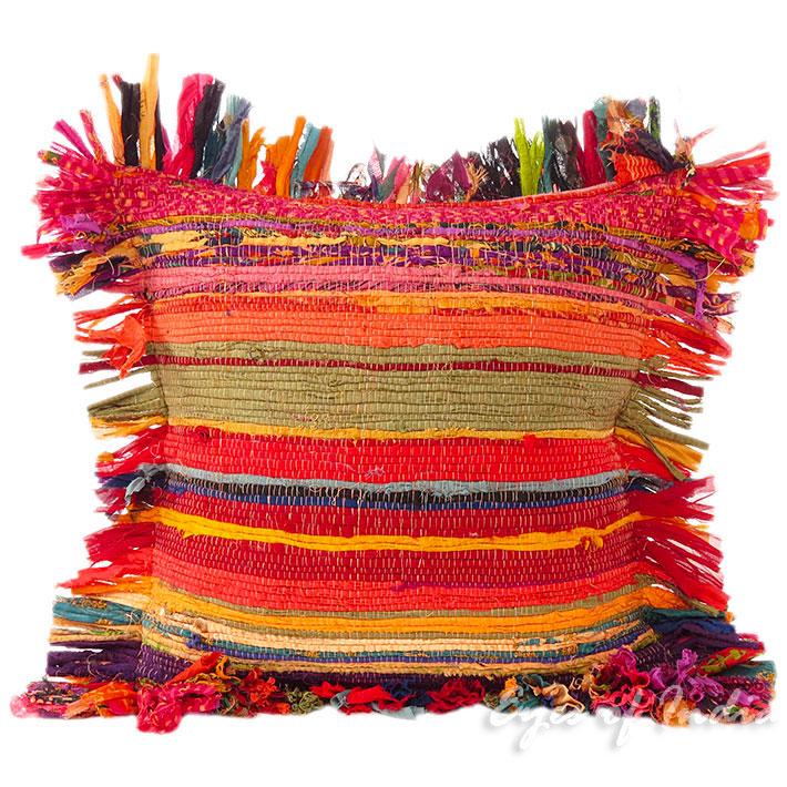 "16"" Orange Chindi Rag Rug Decorative Pillow Throw Sofa"