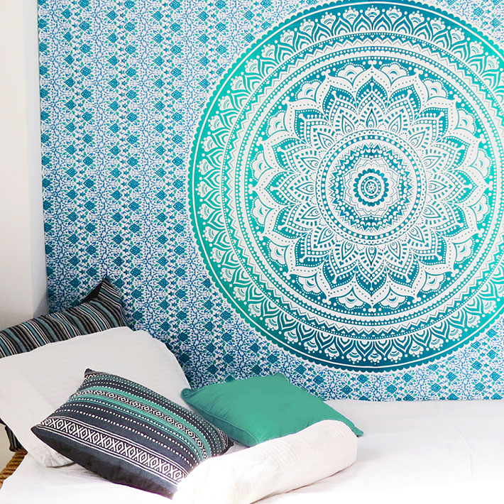 Colorful Ombre Hippie Mandala Wall Hanging Tapestry Beach Bedspread - Small/Twin