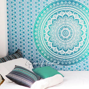 Colorful Ombre Hippie Mandala Wall Hanging Tapestry Beach Bedspread - Twin/Single