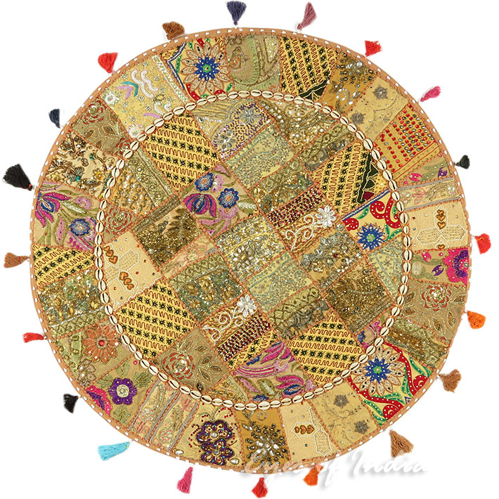 Brown Decorative Seating Boho Patchwork Round Floor Meditation Cushion Pillow Bohemian Pouf Cover - 40""