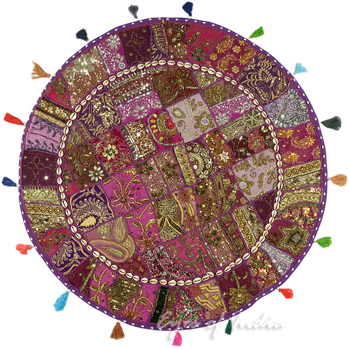 Purple Decorative Seating Bohemian Patchwork Round Floor Cushion Meditation Pillow Cover Boho Pouf - 40""
