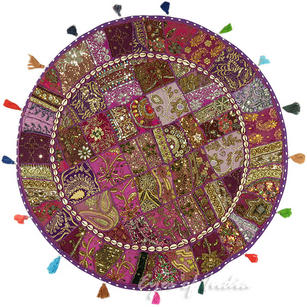 Purple Decorative Seating Bohemian Patchwork Floor Cushion Meditation Pillow Cover Boho Pouf - 40""